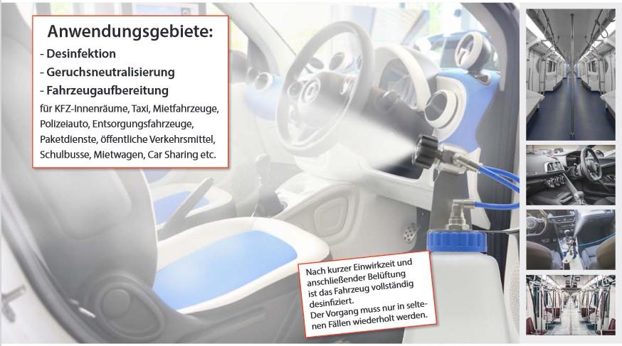 Desinfizieren von Geräten, Räumen und Fahrzeugen
